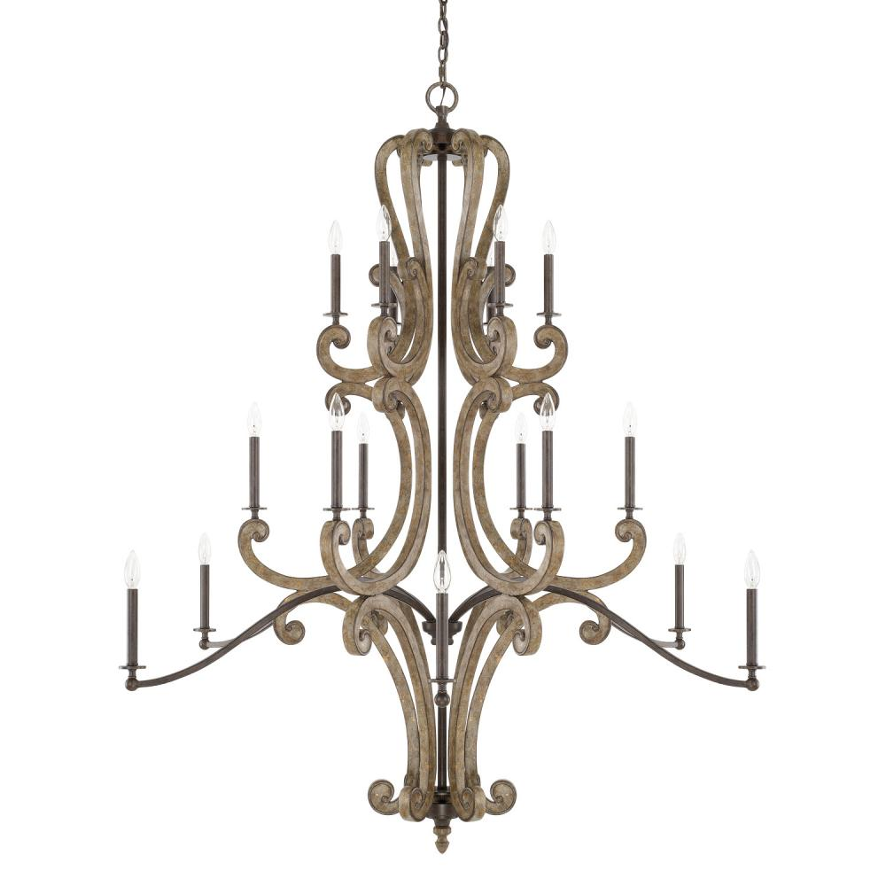 "CPL 421502RN Renaissance 18Lt Chandelier 57""W x 66""H 60W E12 Candelabra lamp not included"