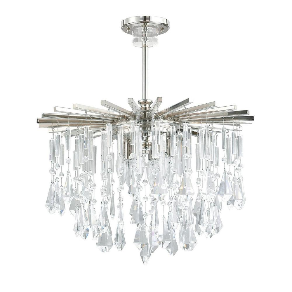 "CPL 7023PN-CR 6X60C Carrington Polished Nickel Chandelier 22.5""W X 27""H"