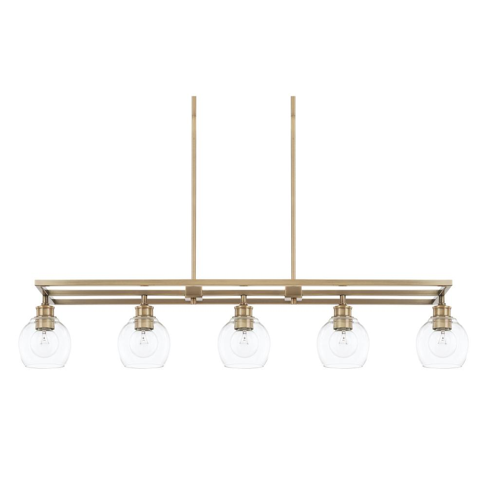 "CPL 821151AD-426 Mid-Century 5Lt Aged Brass Island 47""W x 58.75""H 100A/CL lamp not included"