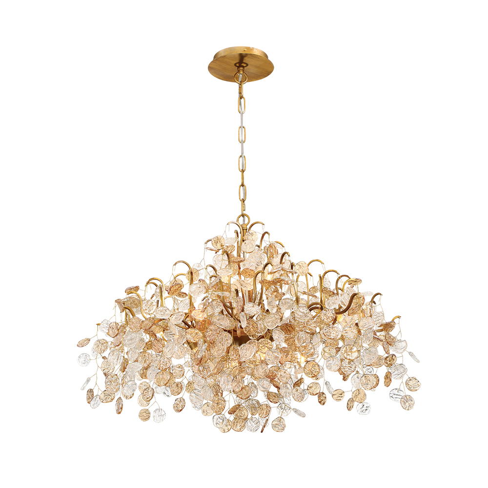 "EUR 29060-016 Campobasso 11Lt Gold Chandelier 21""H x 33""W 40W G9 Lamp included"