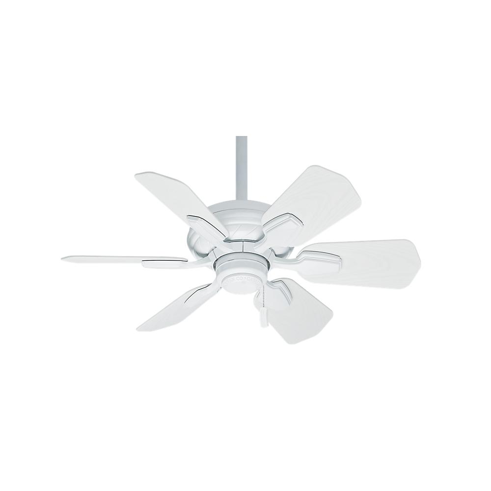 "CAS 59523 31""WAILEA SNOW WHITE CEILING FAN MOTOR W/SNOW WHT ALL WEATHER BLADES. DAMP RATED."