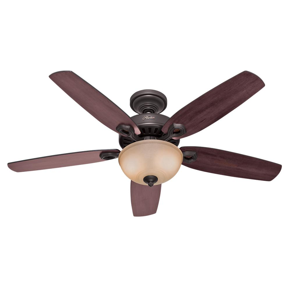 "HUN 53091 52""BUILDER DELUXE Ceiling Fan BRUSHED BRONZE W/2X60Candelabra"