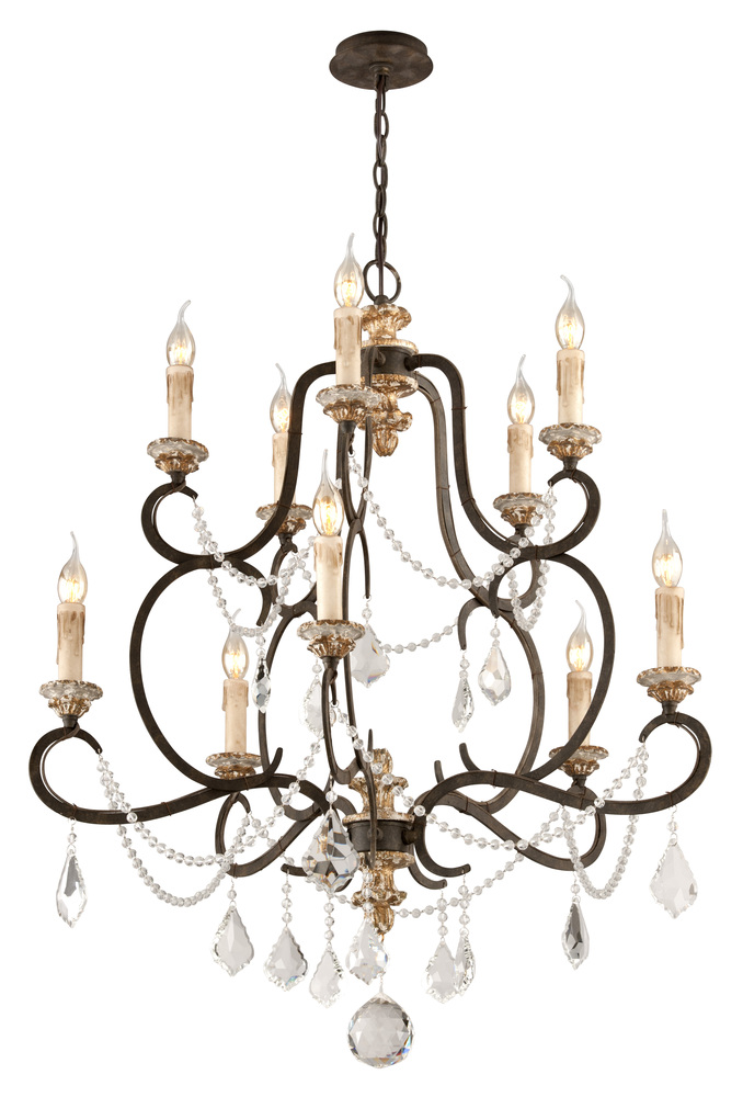 TRO F3516 Bordeaux Wrought Iron Crystal Drops 10Lt Chandlier 10X60 Candelabra