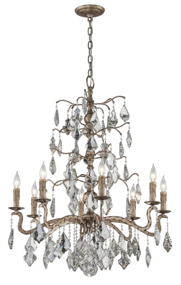 "TRO F4745 Siena 8Lt Vienna Bronze Chandelier 31.25""W x 40""H 60W Candelabra lamp not included"