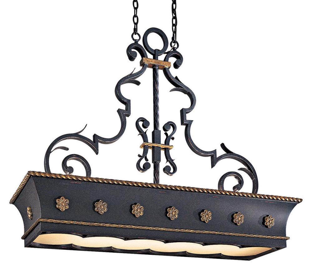 MLF N6107-20 French Black W/gold Highlights Double French Scavo Glass Pool Table Light