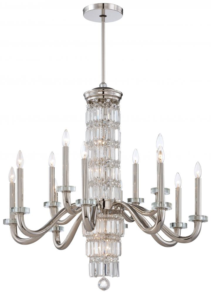 Eighteen Light Polished Nickel Clear Crystal Accents Glass Up Chandelier