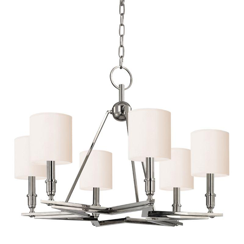 HDS 4086-PN-WS Six Light Polished Nickel Chandelier w/shades 6X60C