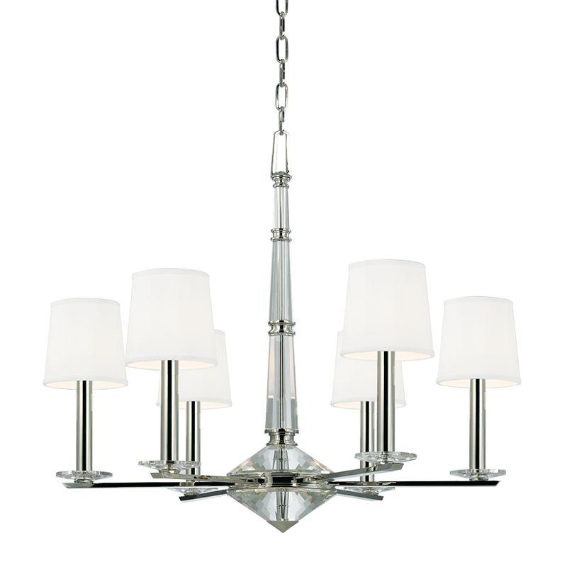 "HDS 6616-PN Porter 6Lt Polished Nickel Chandelier 29.75""W x 25.25""H 60W Candelabra lamp not included"