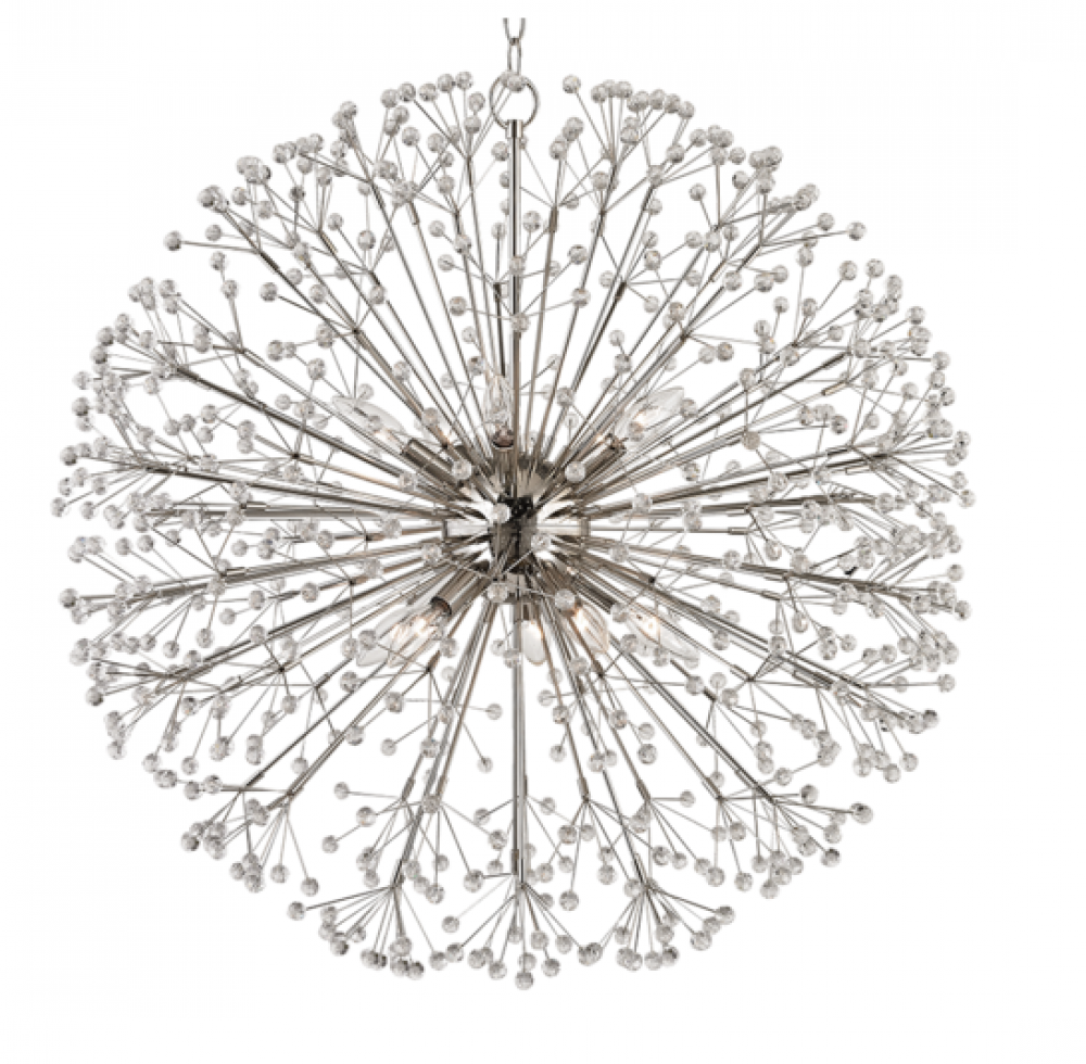 HDS 6030-PN Dunkirk 10Lt Polished Nickel Chandelier 60W E12 Candelabra lamp not included