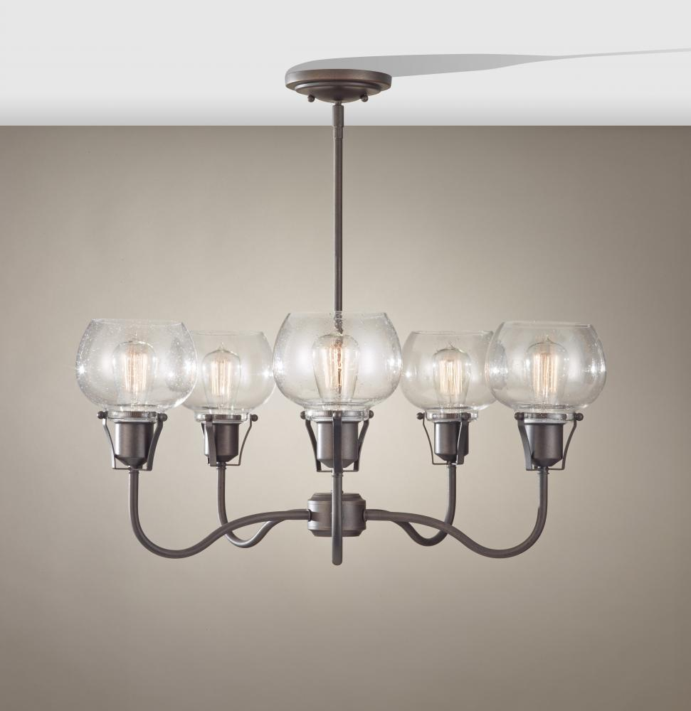 FEI F2824/5RI Five Light Rustic Iron Clear Seeded Glass Up Chandelier 5X100Edison