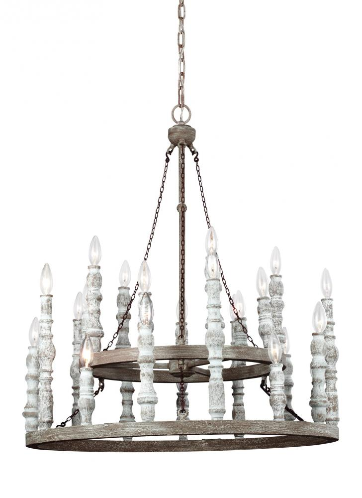 "FEI F3143/24DFB/DWH Norridge 24Lt Distressed Fence Board/ Distressed White Chandelier 30""D x 34.5""H 60W B10 Torpedo Candelabra lamp not included NEWSTOCK APR 2017"