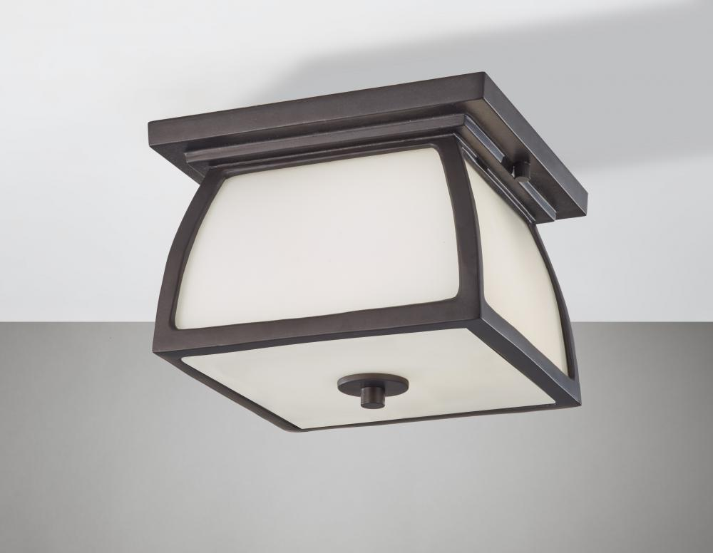 FEI OL8513ORB Two Light Oil Rubbed Bronze White Opal Etched Glass Outdoor Flush Mount