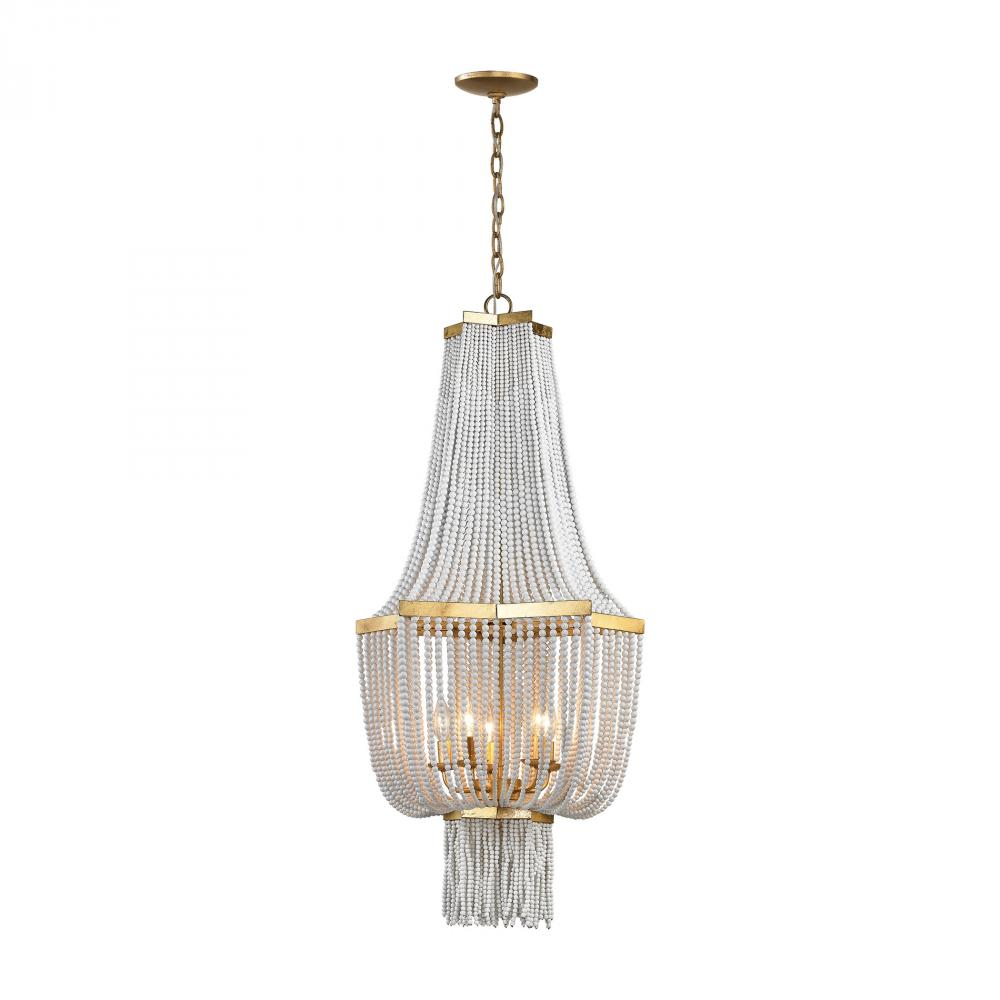 ELK 1142-008 5-60C CHAUMONT ANT GOLD LEAF CHANDELIER