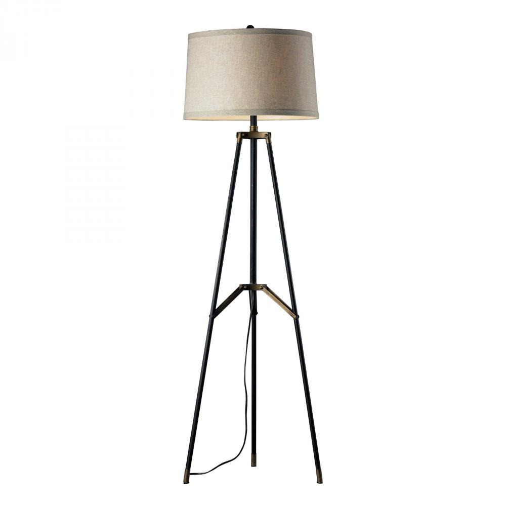 Functional Tripod Floor Lamp in Restoration Black and Aged Gold