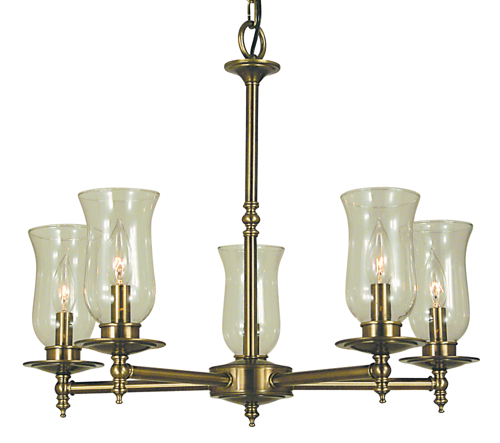 5-Light Antique Brass Sheraton Dining Chandelier