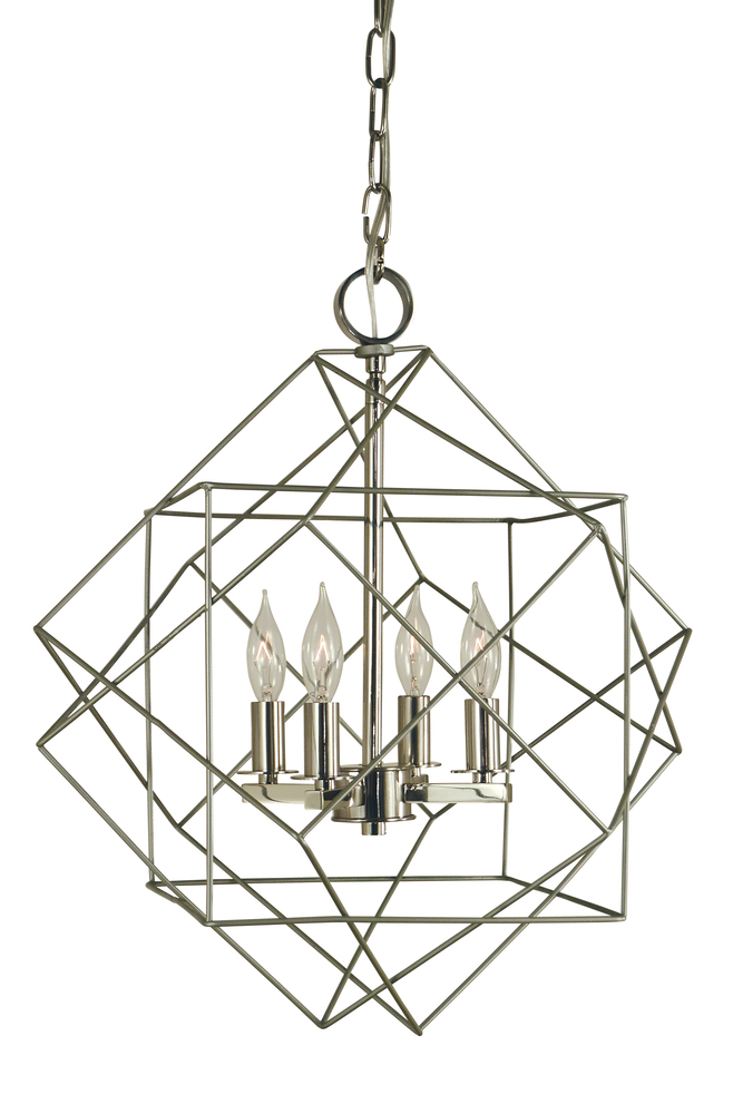 "FRA 4704SP/PN Etoile 4Lt Satin Pewter w/Polished Nickel Mini Chandelier 15""W x 19""H 60W Candelabra lamp not included"