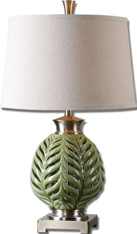 UTT 26285 Flowing Fern 1Lt Green Table Lamp 27