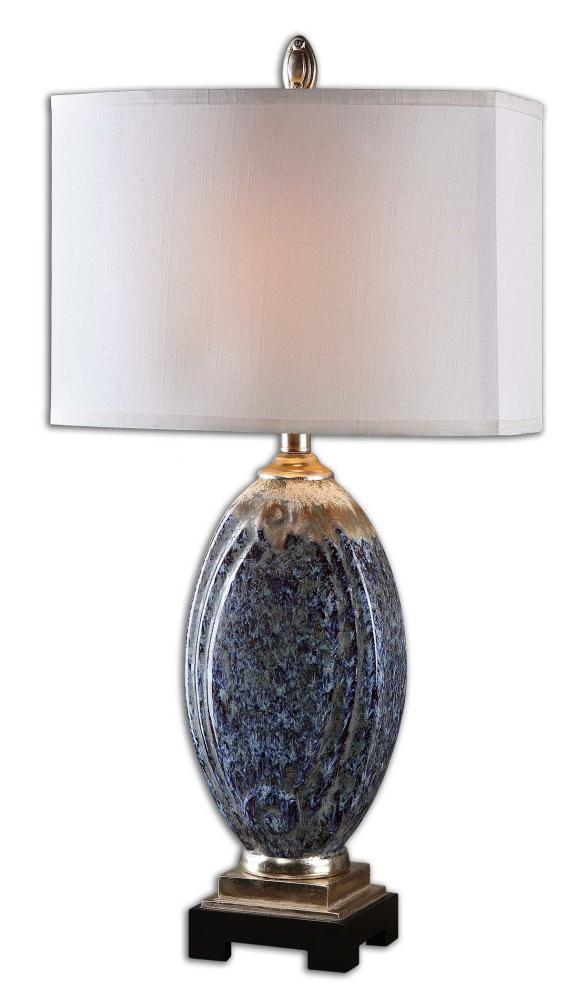 UTT 26298-1 Latah 1Lt Mottled Blue w/Distressed Rust and Aged Ivory and Silver Champagne Table Lamp 31