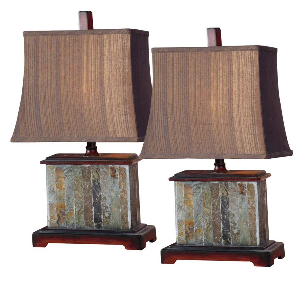 UTT 26333 Slate Table Lamp Slate with Mahogany Details w/ Silken
