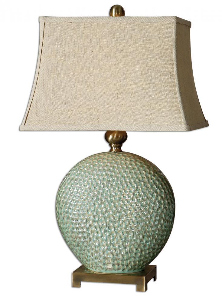 UTT 26807 Destin 1Lt Aquamarine w/ Brushed Coffee Bronze Table Lamp 150W 3-Way lamp not included