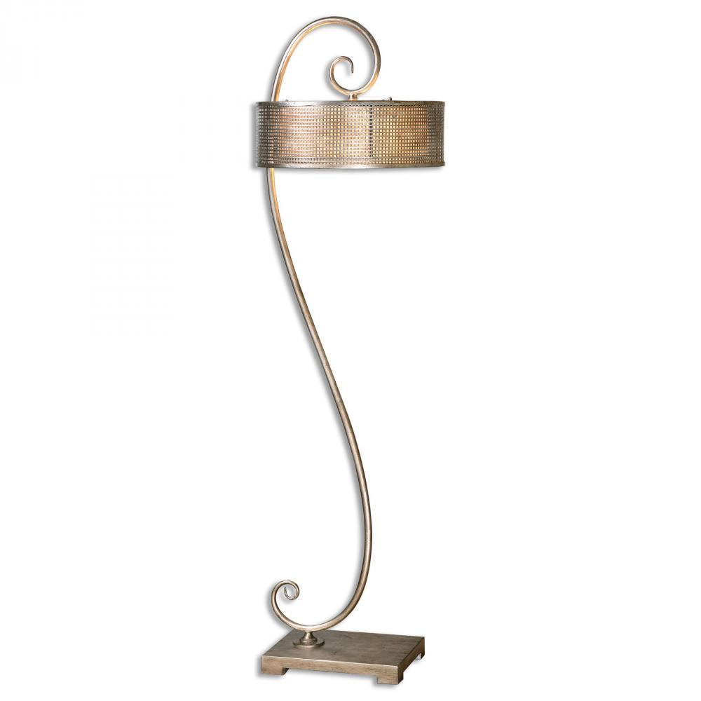 UTT 28599 Dalou 2Lt Scroll Silver Floor Lamp 63