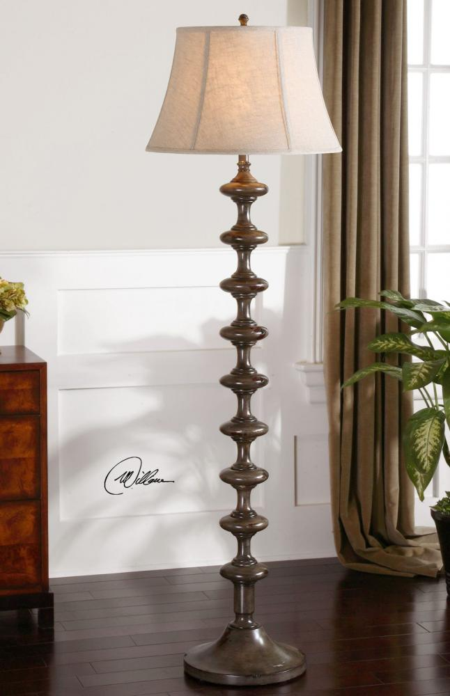 UTT 28630 One Light Charcoal Gray Over Solid Wood W/dark Mahogany Floor Lamp  1X150NULL