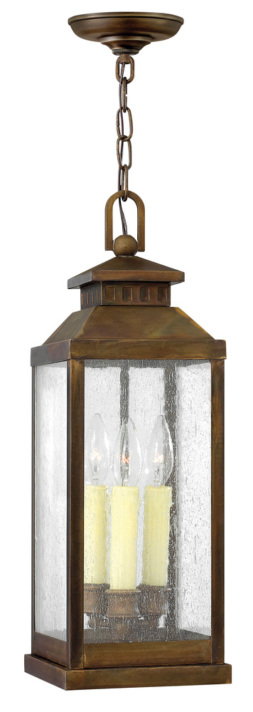 HIN 1182PW Three Light Clear Seedy Glass Hanging Lantern 3X60Candelabra
