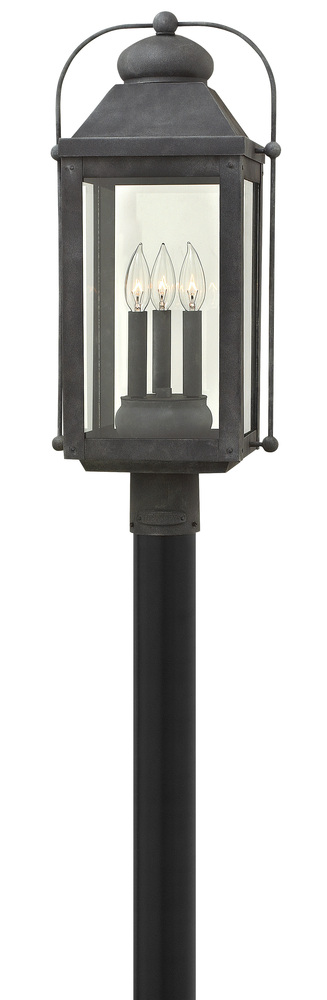 HIN 1851DZ 3 Light Aged Zinc Post Top w/Clear Glass 3X60C