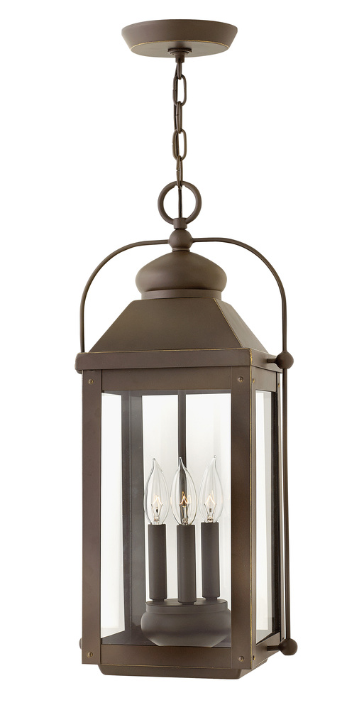 "HIN 1852LZ Anchorage 3Lt Light Oiled Bronze Lantern11""W x 23.8""H 60W Candelabra lamp not included"