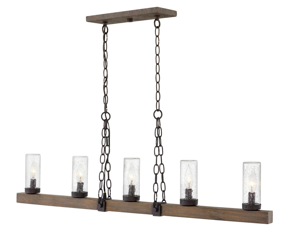 "HIN 29205SQ Sawyer 5Lt Sequoia Pendant 42""W X7.8""h 60W Candelabra lamp not included"