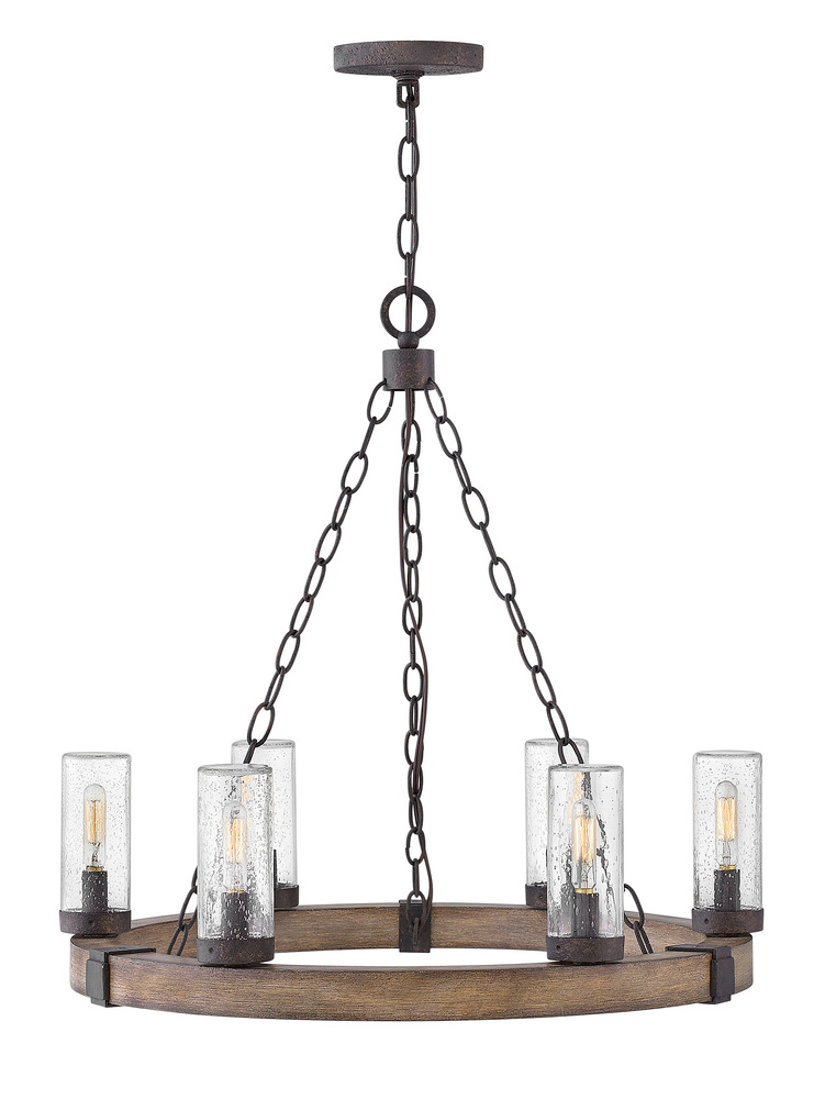 "HIN 29206SQ Sawyer 6Lt Sequuoia Chandelier 24""W x 21.75""H 60W Candelabra lamp not included"