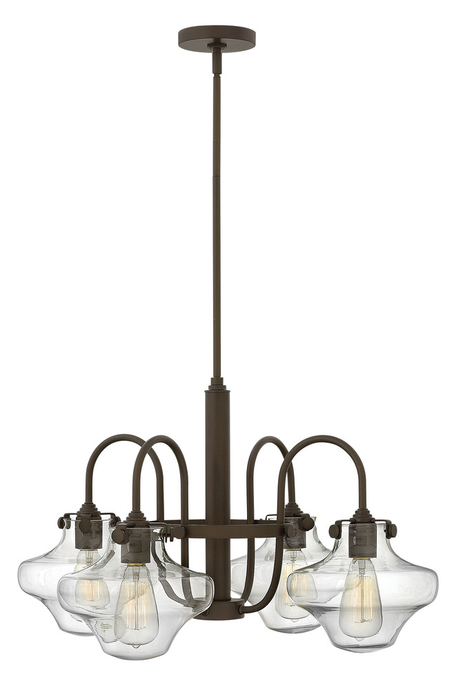 "HIN 3041OZ Congress 4Lt Oil Rubbed Bronze Chandelier 27""W x 16""H 100W Med lamp not included"
