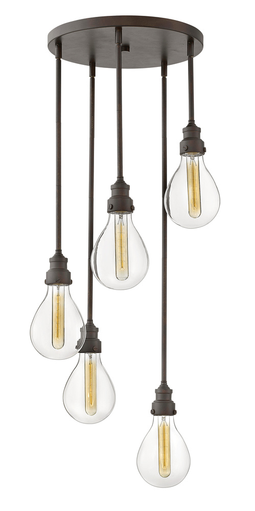 "HIN 3265IN Denton 5Lt Industrialized Iron Chandelier 18.3""W x 42.8""W 60W Med lamp not included NEWSTOCK MAR 2019"
