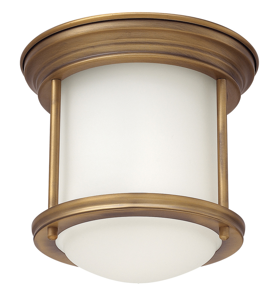 HIN 3300BR One Light Brushed Bronze Drum Shade Flush Mount 1X100Medium