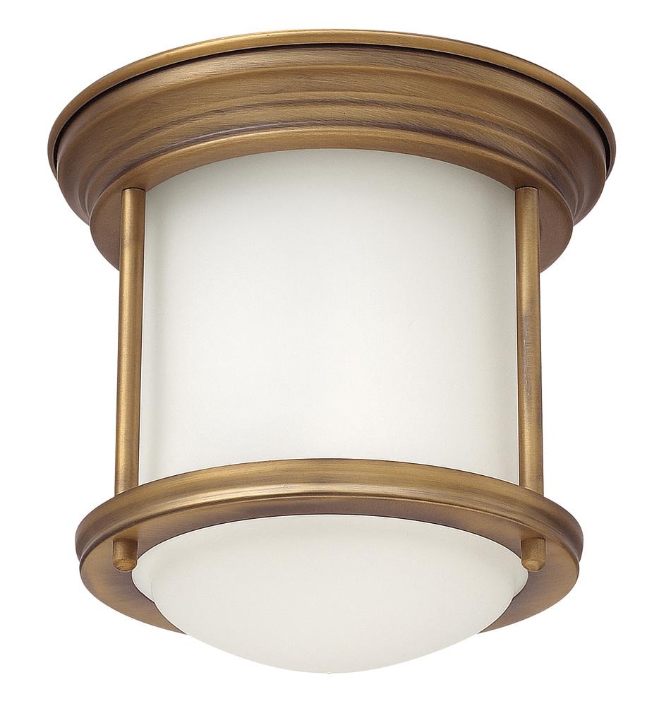 HIN 3300BR One Light Brushed Bronze Drum Shade Flush Mount 1X100Medium