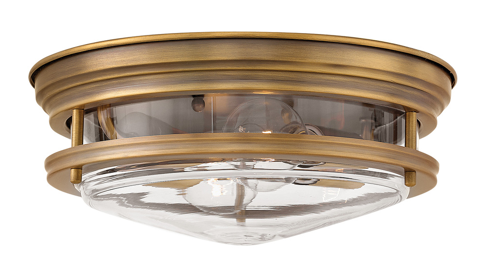 "HIN 3302BR-CL Hadley 2Lt Brushed Bronze Flush Mount 12""W x 4.8""H 60W Med lamp not included"