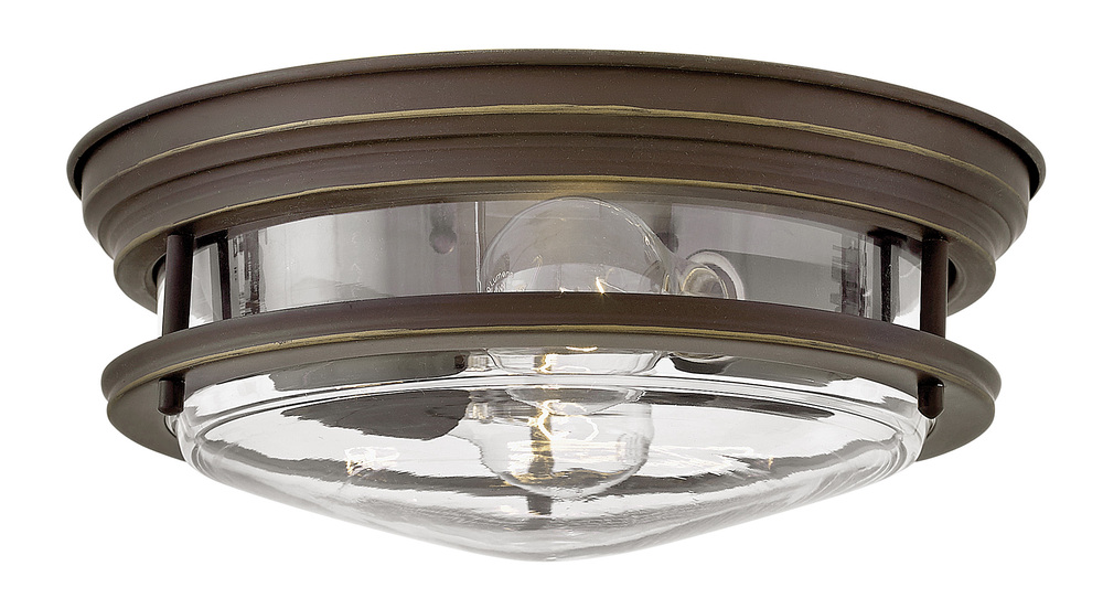 "HIN 3302OZ-CL Hadley 2Lt Oil Rubbed Bronze Flush Mount 12""W x 4.8"" H 60W Med lamp not included NEWSTOCK AUG 2019"