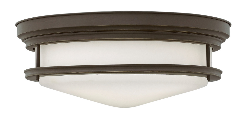 HIN 3304OZ Four Light Oil Rubbed Bronze Etched Opal Glass Flush Mount 4X100M