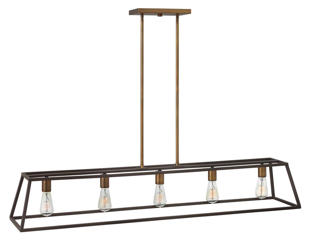 "HIN 3335BZ Fulton 5Lt Bronze Chandelier 50""W x 9""H 100W Med lamp not included"