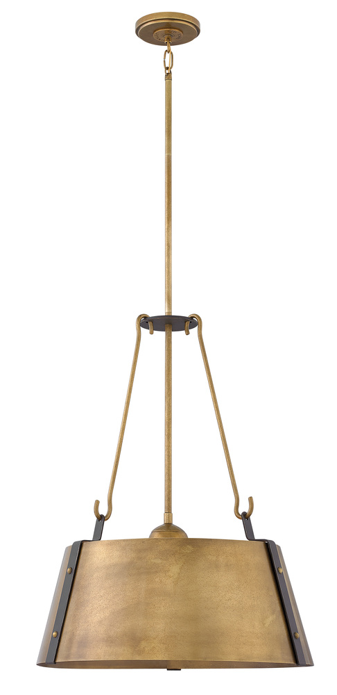 "HIN 3395RS Cartwright 3Lt Rustic Brass Chandelier 19.5""W x 25""H 100W Med lamp not included"
