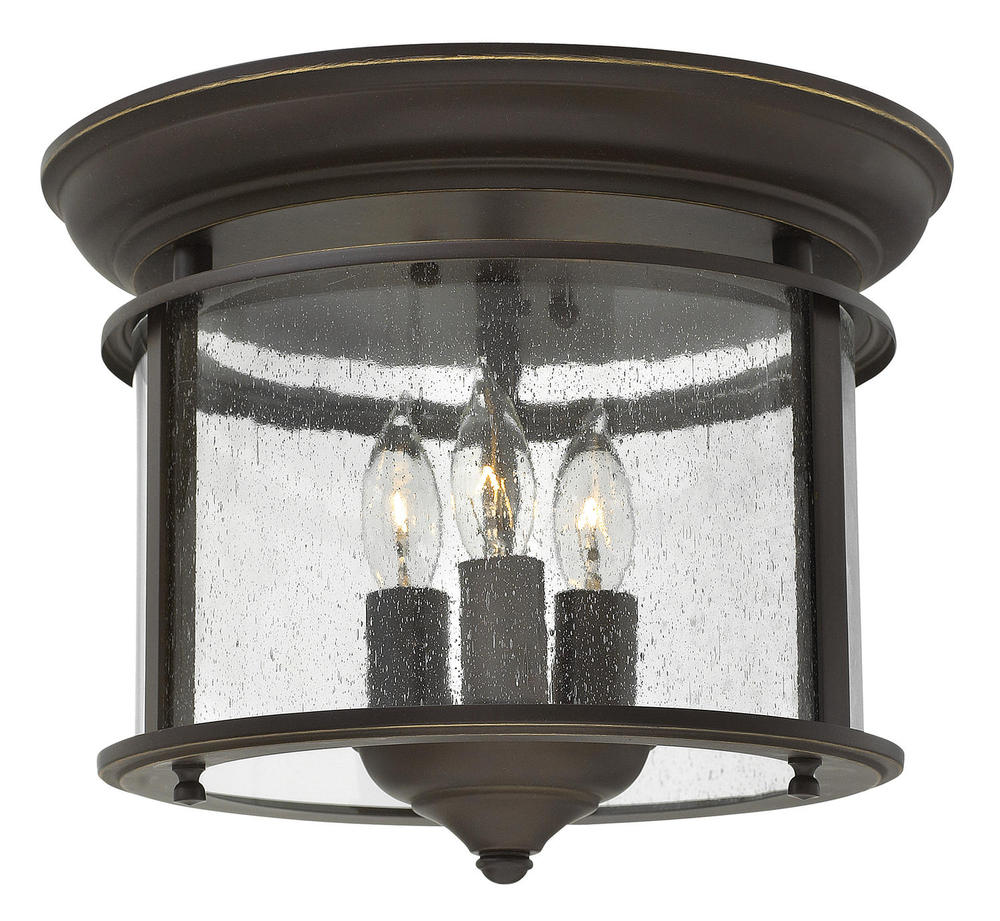 "HIN 3473OB Gentry 3Lt Olde Bronze Flush Mount 11.5""W x 9.5""H 40W Candelabra lamp not included NEWSTOCK AUG 2019"