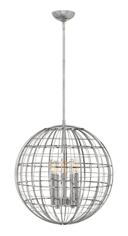 "HIN 3515PN Terra 5Lt Polshed Nickel Chandelier 19""W x 20""H 60W Candelabra lamp not included"