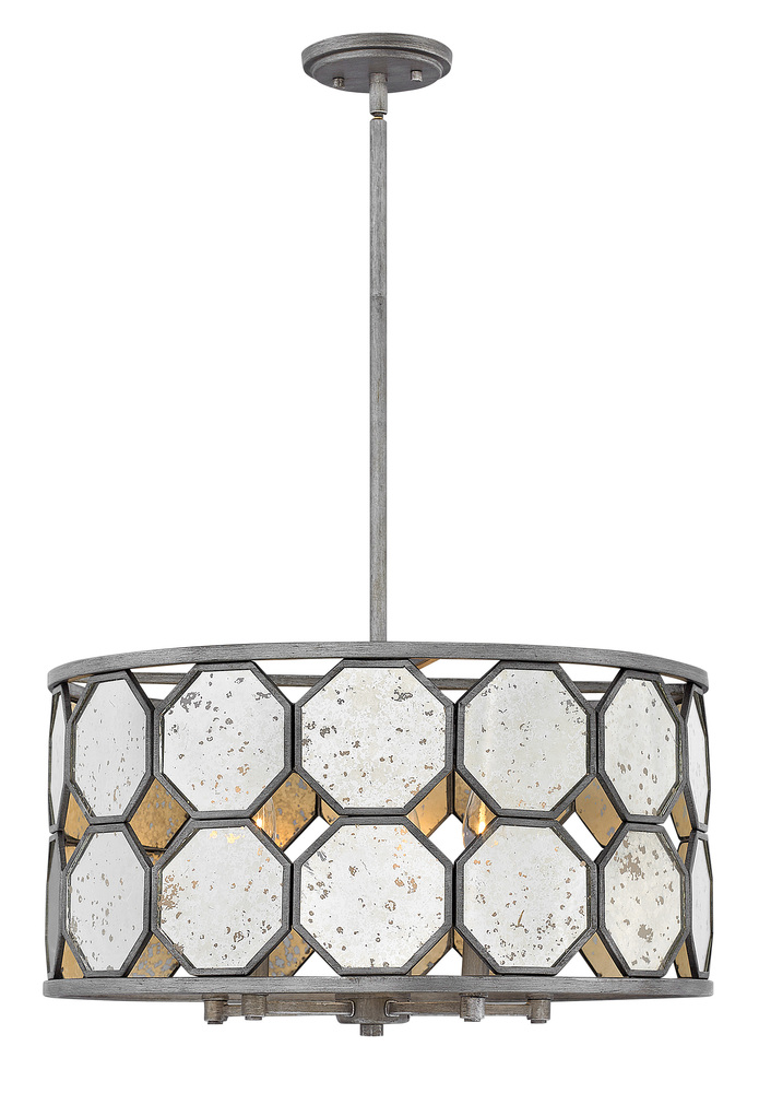"HIN 3564BV Lara 5Lt Brushed Silver Chandelier 21.8""W x 12.8""H 60W Candelabra lamp not included"