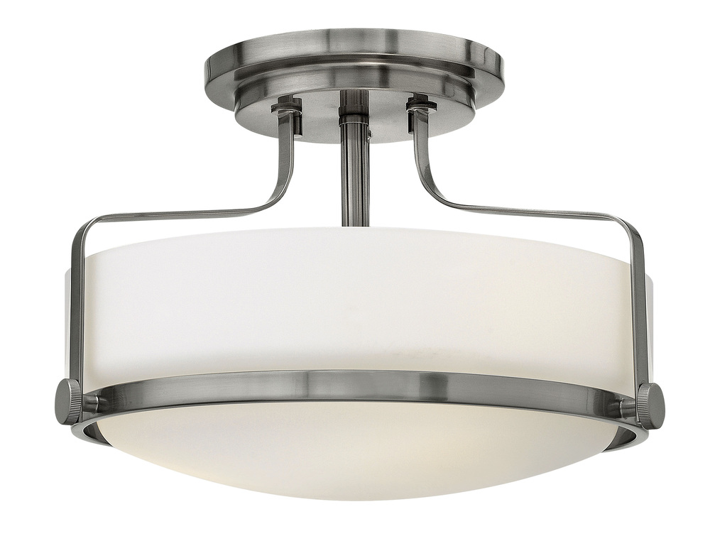 "HIN 3641BN Harper 3Lt Brushed Nickel Semi-Flush 14.5""W x 10""H 100W Med lamp not included NEWSTOCK MAR 2019"