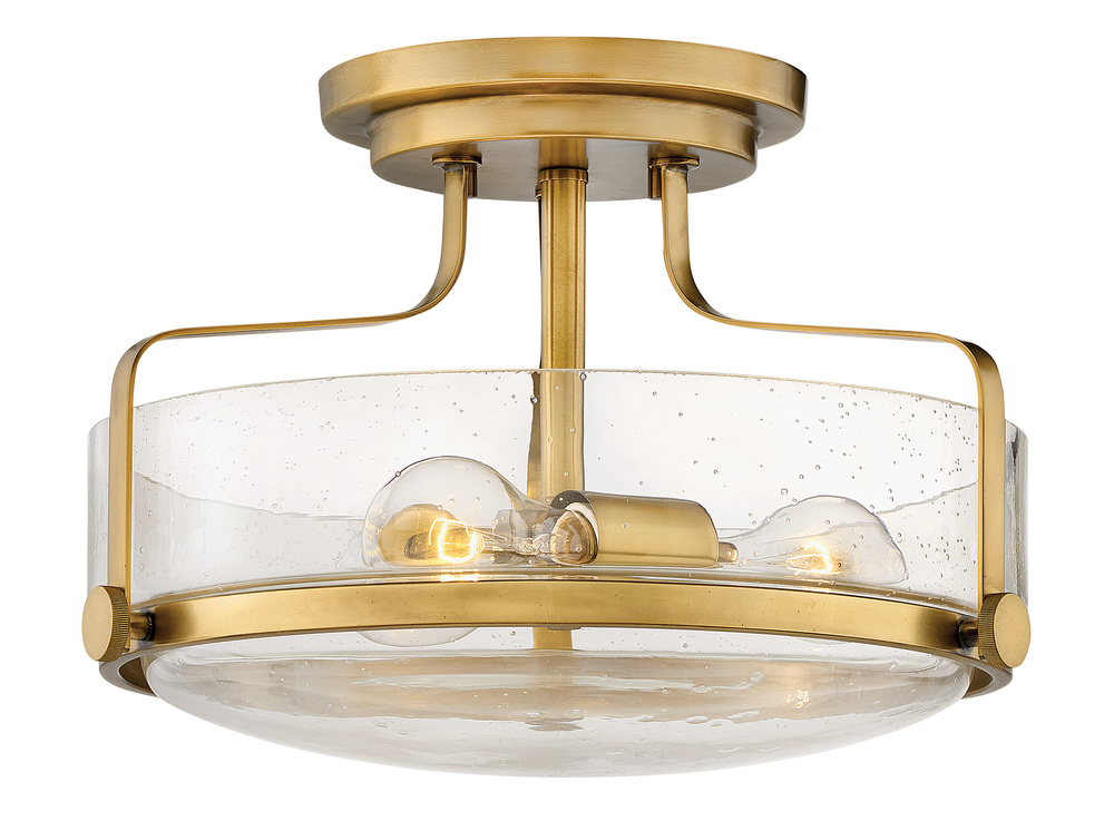 "HIN 3641HB-CS Foyer Harper 3Lt Heritage Brass 14.5"" W X 10.0"" H w/ Clear Seedy Glass 3-100w Med Base Lamps (Not Included) NEWSTOCK MAR 2019"