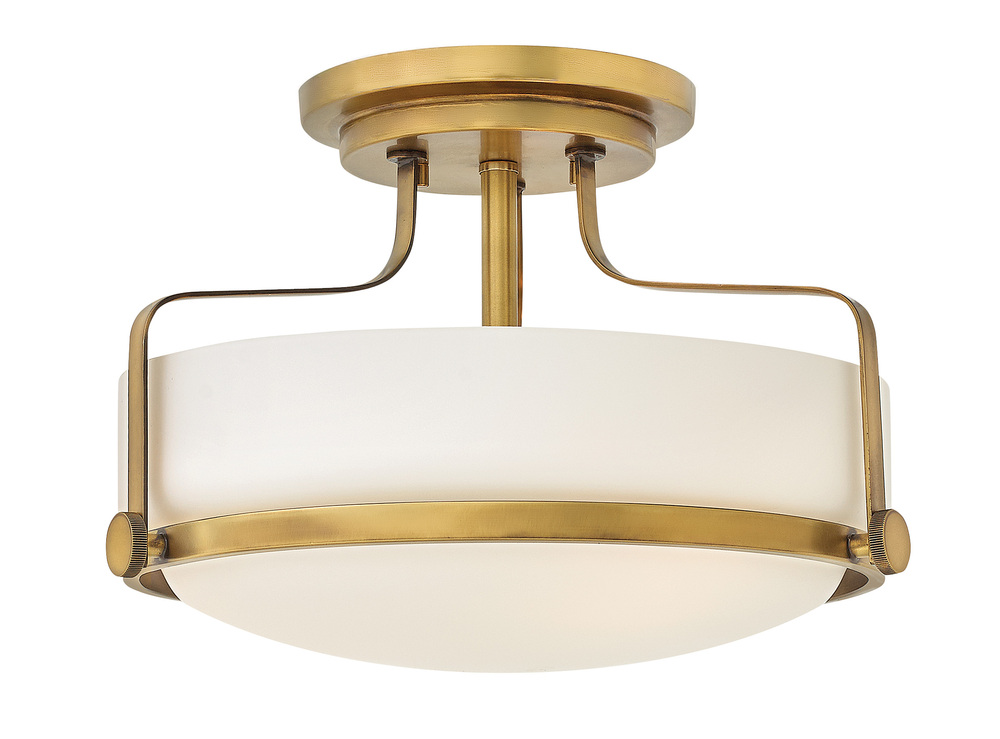 "HIN 3641HB Harper 3Lt Heritage Brass Semi Flush 14.5""W x 10""H 100W Med lamp not included"
