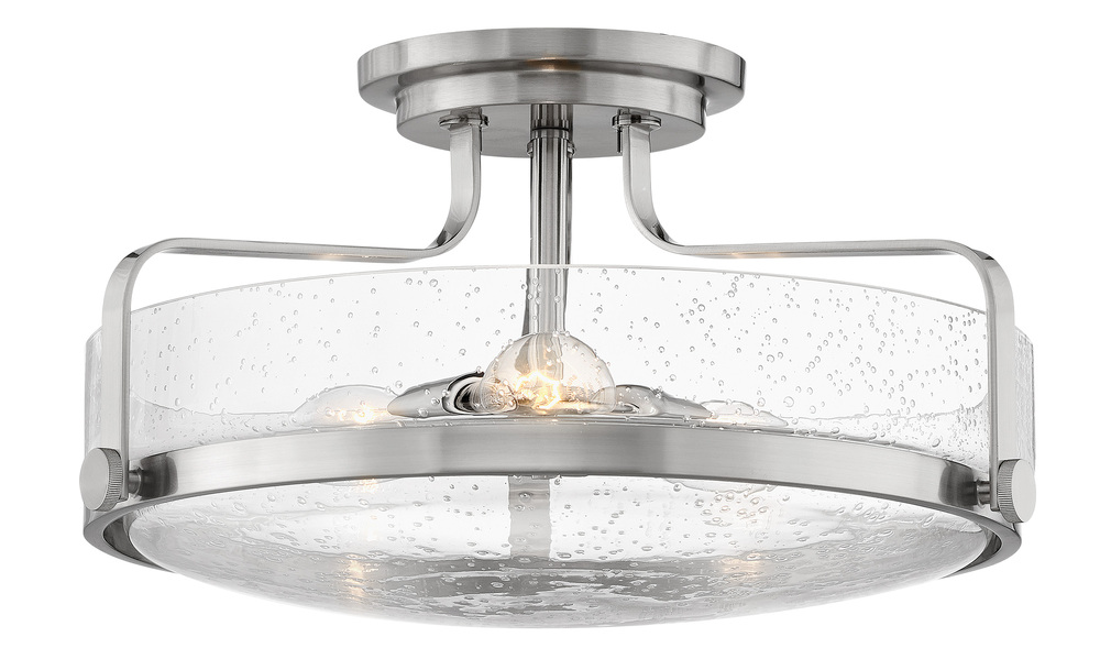"HIN 3643BN-CS Foyer Harper 3Lt Brushed Nickel 18.0"" W x 10.0"" H w/ Clear Seedy Glass 3-100w Med Base Lamps (Not Included) NEWSTOCK AUG 2019"