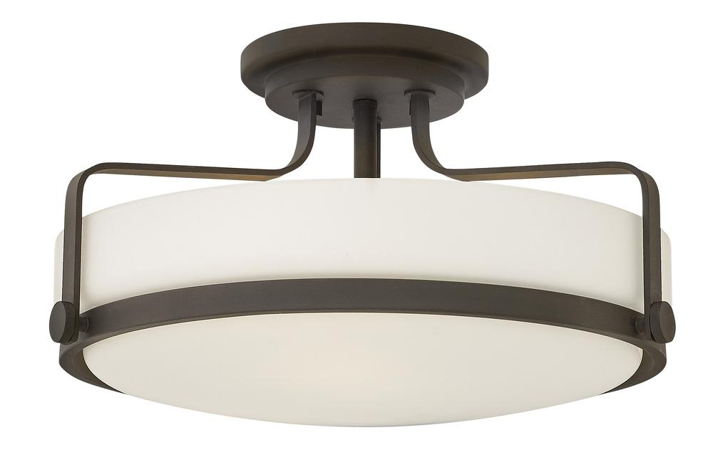 "HIN 3643OZ Harper 3Lt Oil Rubbed Bronze Semi Flush 18""W x 10""H 100W Med lamp not included"