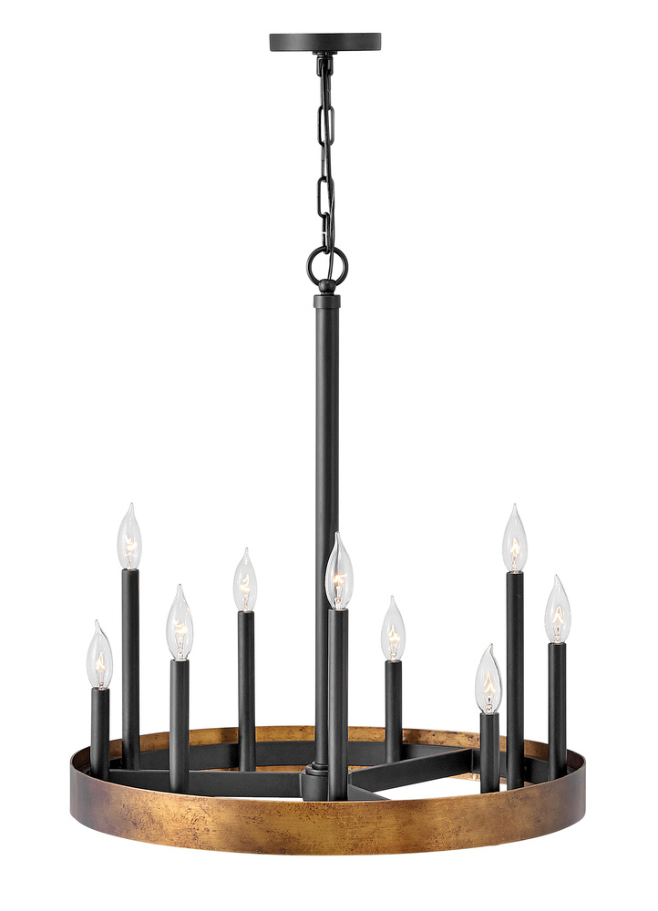 "HIN 3866WA 26""H X 24"" W 9-60 WEATHERED BRASS WITH BLACK ACCENTS CHANDELIER NEWSTOCK MAR 2019"