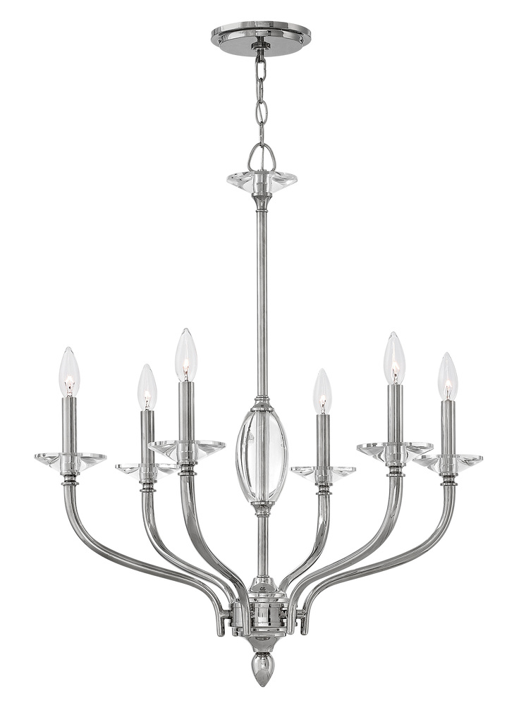 "HIN 4006PN Surrey 6Lt Polished Nickel Chandelier 26.5""W x 32""H 60W Candelabra lamp not included"